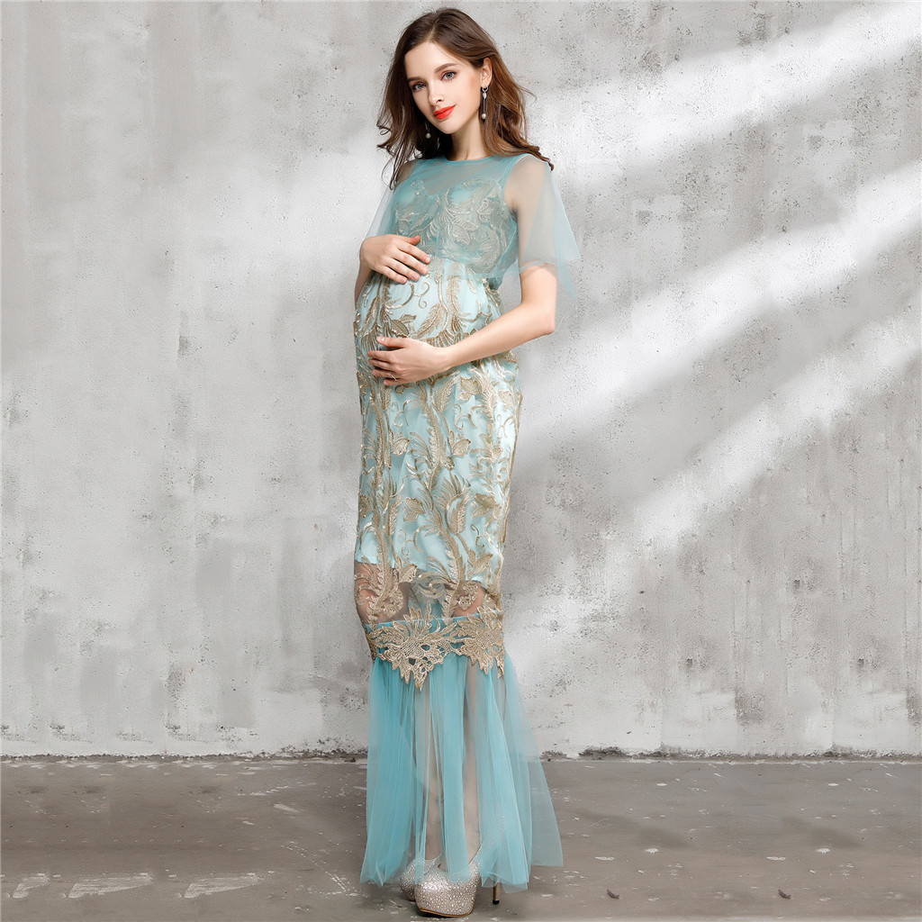 Blue Embroidery Sheer Mesh Maxi Dress Maternity Photography Photo Shoot Gown long mesh sheer slip babydoll page 4