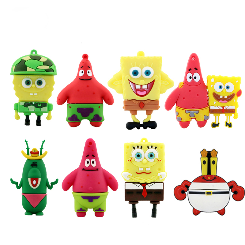 Pen Drive Cartoon Bob Esponja 8GB 16GB 32GB 64GB Memoria USB Usb Flash Drive Pendrive Patrick Star Pendriver Mini regalos