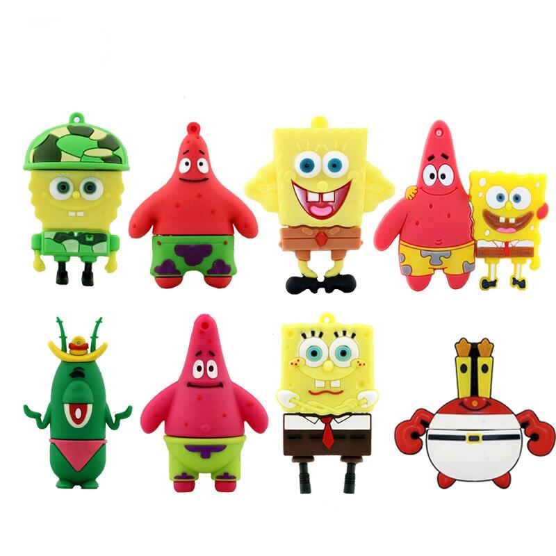 Pen Drive Cartoon SpongeBob 8GB 16GB 32GB Usb Flash Drive Memory Stick Storage Pendrive Patrick Star Pendrive Mini Flash Card
