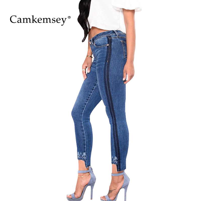 CamKemsey Plus Size S-3XL Floral Embroidery Jeans Woman With Side Striped Stretch High Waist Skinny Jeans For Women Denim Pants