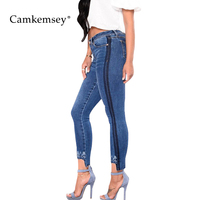 CamKemsey Plus Size S 3XL Floral Embroidery Jeans Woman With Side Striped Stretch High Waist Skinny Jeans For Women Denim Pants