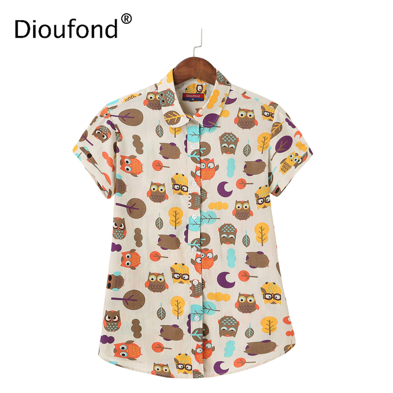 Dioufond Summer Short Sleeve Lips Print Women Blouse Shirt Floral White Navy Shirts Top Blusas 2017 New Plus Size S-5XL