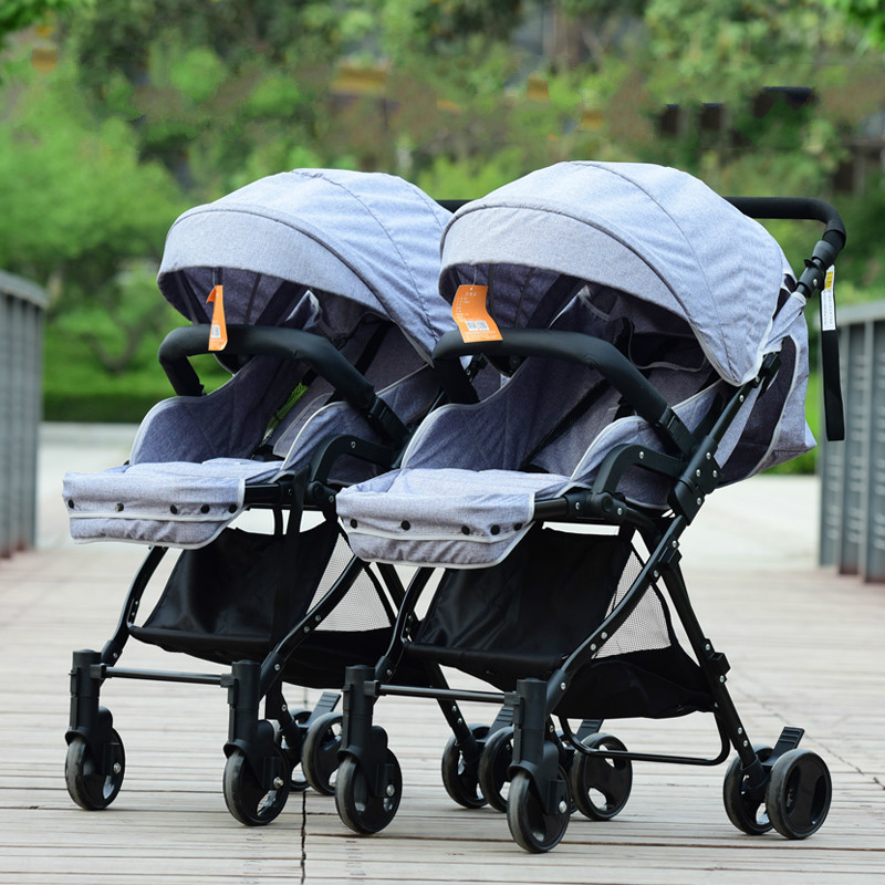 Baby carriage High landscape twins baby stroller multifunction separable assemble shockproof folding portable mutiple stroller high quality twins baby stroller aluminum alloy folding child pram shockproof solid wheel high landscape mutiple strollers