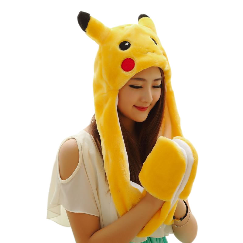 New Soft Warm Animal Cap Panda Stitch Giraffe Cute Cartoon Plush Hat Earmuffs With Long Scarf Gloves For Women Men  Child