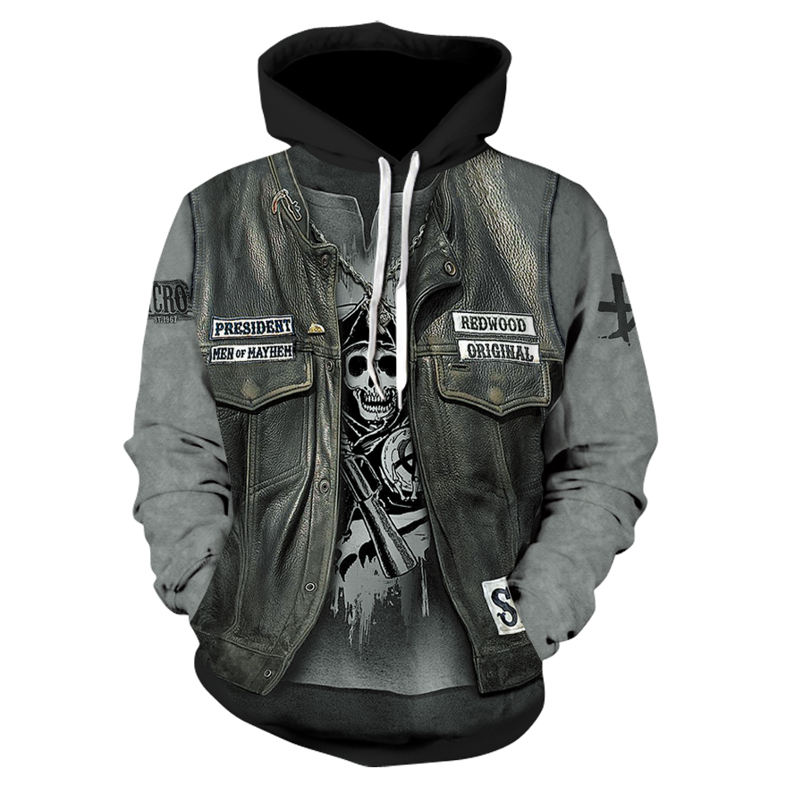 Thin, Long-sleeved 3D Pullover Hoodie For Fall 2019, Skull Fake Punk Hip-hop Rock Two-piece Heavy Metal Hoodie For Men And Women