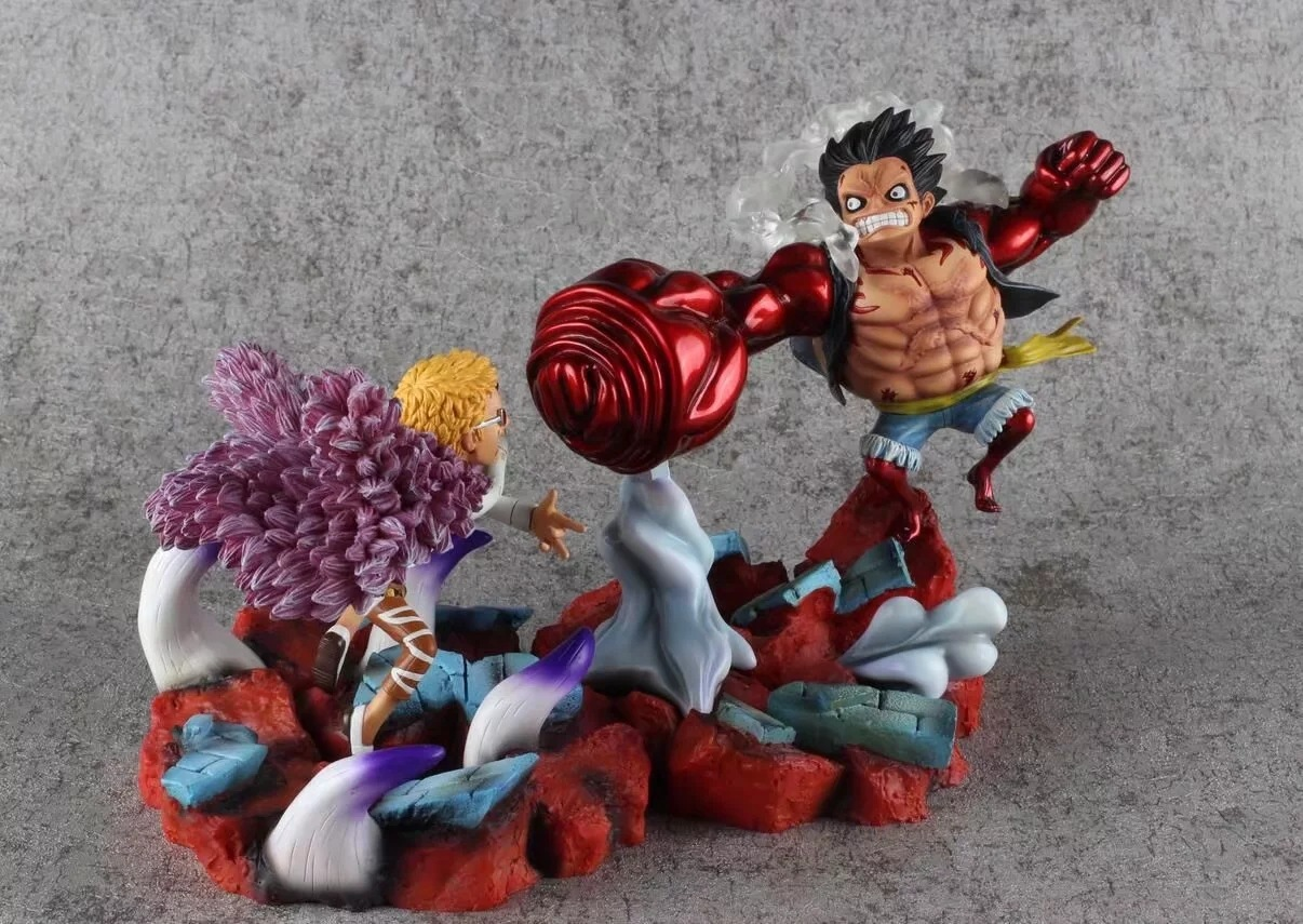 19CM Japanese anime figure one piece Luffy VS Donquixote Doflamingo action figure collectible model toys for boys anime one piece luffy vs trafalgar law 5th anniversary pvc action figure collectible model toy 16cm opfg511