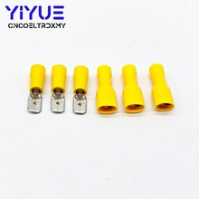 100Pcs/50Pairs 6.3mm 14-12AWG Female Male Electrical Wiring Connector Insulated Crimp Terminal Spade Yellow FDD 5.5-250 MDD5.5