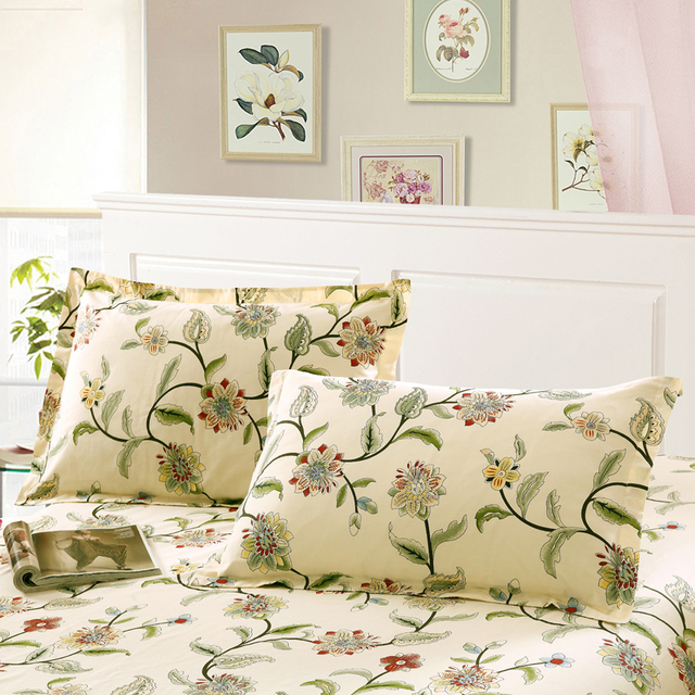100% Cotton Lavender pink Flower and bird  Pillow Case 2Pcs Home One Pair Diagonal Printing Brief Style Pillow shams 48x74cm