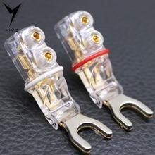 4pcs Hi end Guangzhou YIVO Pure Red Copper Y shape Speaker Audio Jack Plugs screwing Banana Plug Connector Connectors