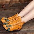 2016 Marca de estilo nacional artesanal de couro genuíno mulher sandálias casual shoes mulher botas outono INVERNO BOTAS sapatos da moda