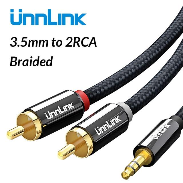 Unnlink HIFI 3.5mm Jack Aux to 2 RCA Cable Audio Cable 2m 3m 5m 8m 10m for TV mi Box Amplifier Speaker Wire Subwoofer Soundbar