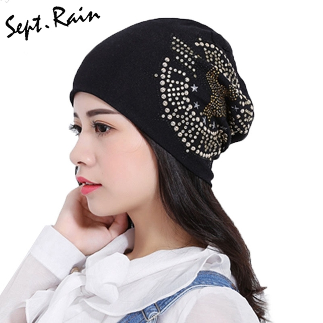 Womens Winter Hats Vintage Sun Eagle Rhinestone Beanies Hip Hop Unisex  Baggy Bonnet New Casual Skullies Caps for Men b7b6d46fc