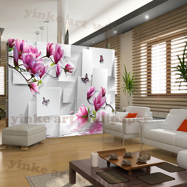 Classic Style 3d Wallpaper Of Natural Material Bright Flowers Living Room Study Kitchen Printed Wallpapers