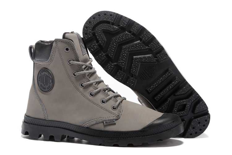 PALLADIUM Pampa Frosted Light Gray Leather High-top Ankle Boots Comfortable Lace Up Men Winter Hiking Shoes