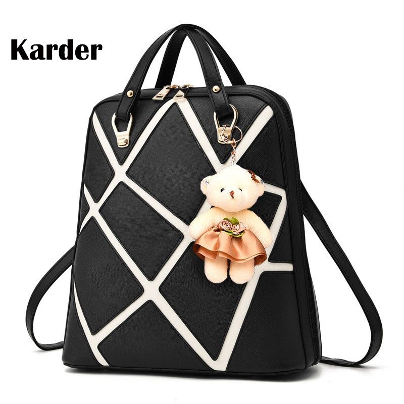Black Women Backpack PU Leather School Bags for Teenagers Girl Student College Travel Bag Preppy Style Backpack Female Bolsos 2017 women leather backpack designer preppy style school bags for teenagers girl s travel bag vintage backpacks mochilas escolar