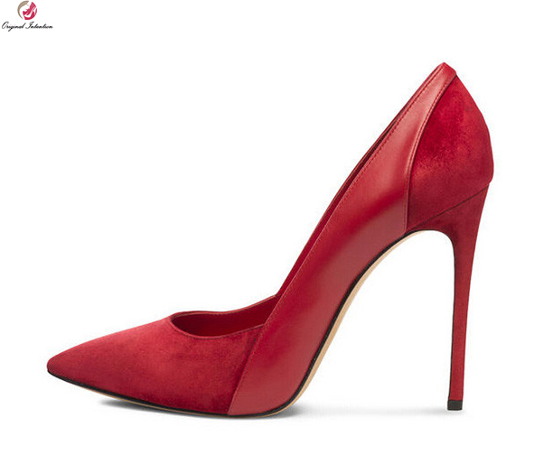 Original Intention New Sexy Women Pumps Fashion Pointed Toe Thin High Heels Pumps Black Blue Red Shoes Woman Plus US Size 3-10.5