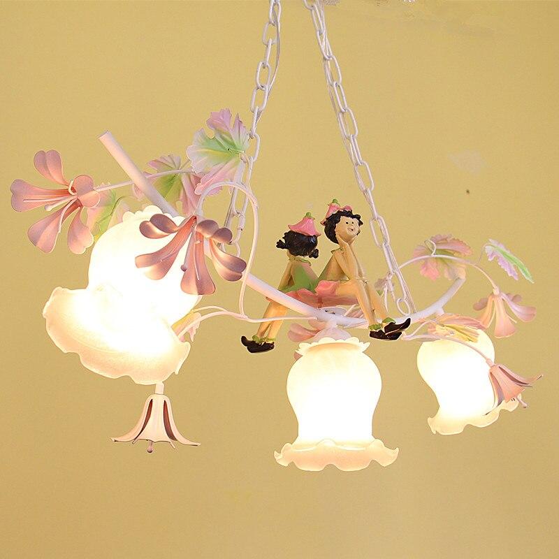 Pastoral romantic style Korean wrought iron pendant light pink rose flower bedroom dining room hanging lighting lampPastoral romantic style Korean wrought iron pendant light pink rose flower bedroom dining room hanging lighting lamp