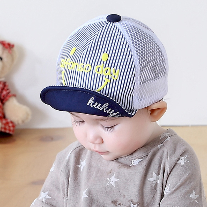 Spring Cotton Infa Hat For Girls Children Kid Striped Summer Mesh Soft Brim Smiling Sun Caps Baseball Cap lowest price brushed cotton twill ivy hat flat cap by decky brown
