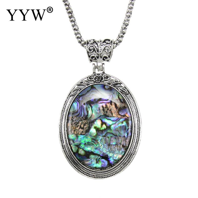 60cm Long Sweater Chain Necklaces Antique Silver-color Abalone Shell Mother of Pearl Oval Mussel Shell Pendant Necklaces Woman