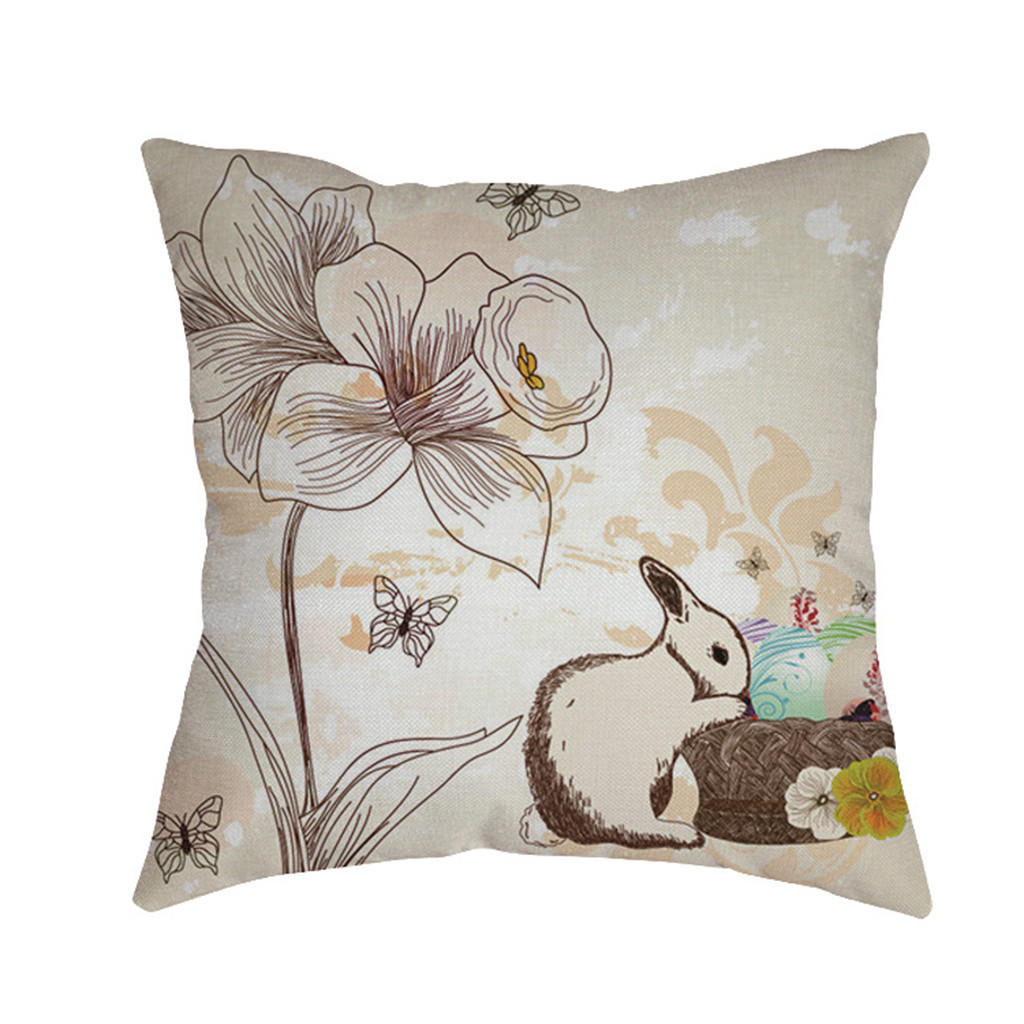 Image 3 - Cute rabbit print Cushion cover Easter Sofa Bed Home Decoration Festival Environmental protection Pillowcases Cushion Cover-in Cushion Cover from Home & Garden