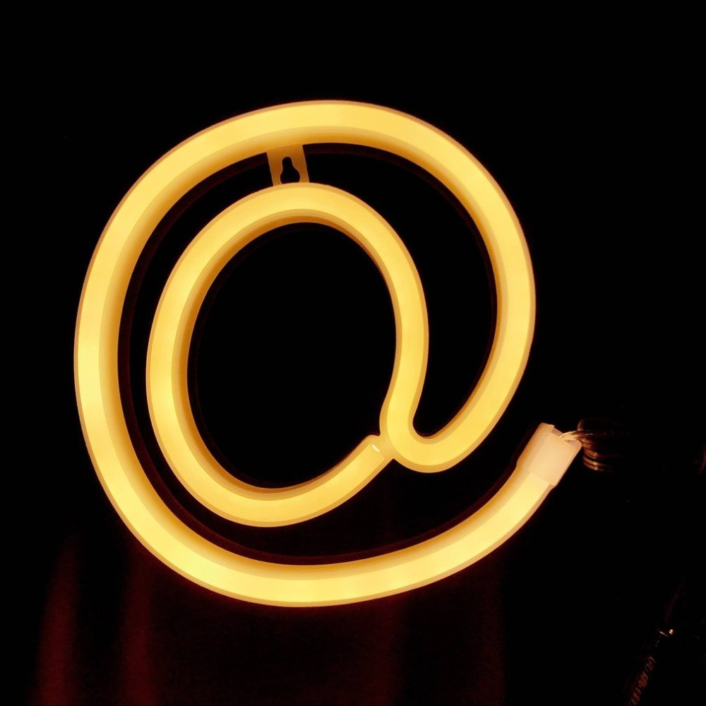 22CM DIY Neon Light Signs Lights Hanging Letter Number Font Lighting Words for Rooms Wedding Party A to Z 0 to 9 +#@