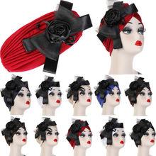Womens Hair Loss Head Scarf Turban Cap Big Flower Muslim Cancer Chemo Hat Cover