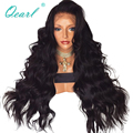 Real Human Hair Lace Front Wigs 480gram Super Thick Density 13x4 Brazilian Wavy Remy Hair Wig Pre Plucked Qearl