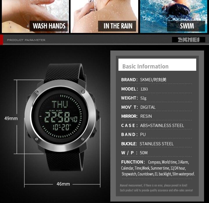 Men Watches Skmei Brand Men Sport Watch 50m Waterproof Digital Fashion Outdoor Military Compass Wristwatches Relogio Masculino Sale Price Digital Watches Men's Watches
