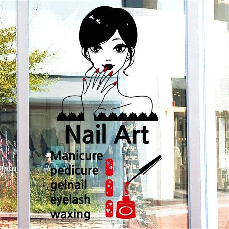 Новое поступление Дизайн ногтей виниловые наклейки на стены сексуальная девушка ногтей настенной Стикеры салон магазин ногтей окна Стекло... ...