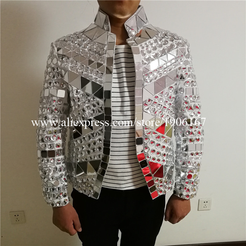 Mirrorman Silver Color Rhinestone Stage Costume Mirror Man Clothing Party Halloween Performance DJ Singer Dance Clothes
