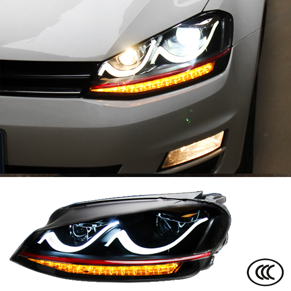Car Headlight For Volkswagen VW Golf 7 2012 2013 2014 Bifocal lens Light Guide DRL Daytime Running Lights Head lights Auto Lamps car rear trunk security shield cargo cover for volkswagen vw tiguan 2016 2017 2018 high qualit black beige auto accessories