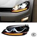 Faróis de Estilo do carro Para Volkswagen VW Golf 7 2012 2013 2014 lente Bifocal Dupla U Guia de Luz Luzes Diurnas