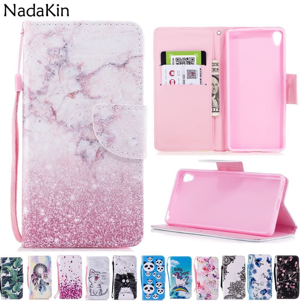 Painted Flip Leather Case For Sony Xperia XZ1 Compact L1 L2 XA2 E5 XA XA1 Wallet Cover Case Money Card Slots Stand Holder