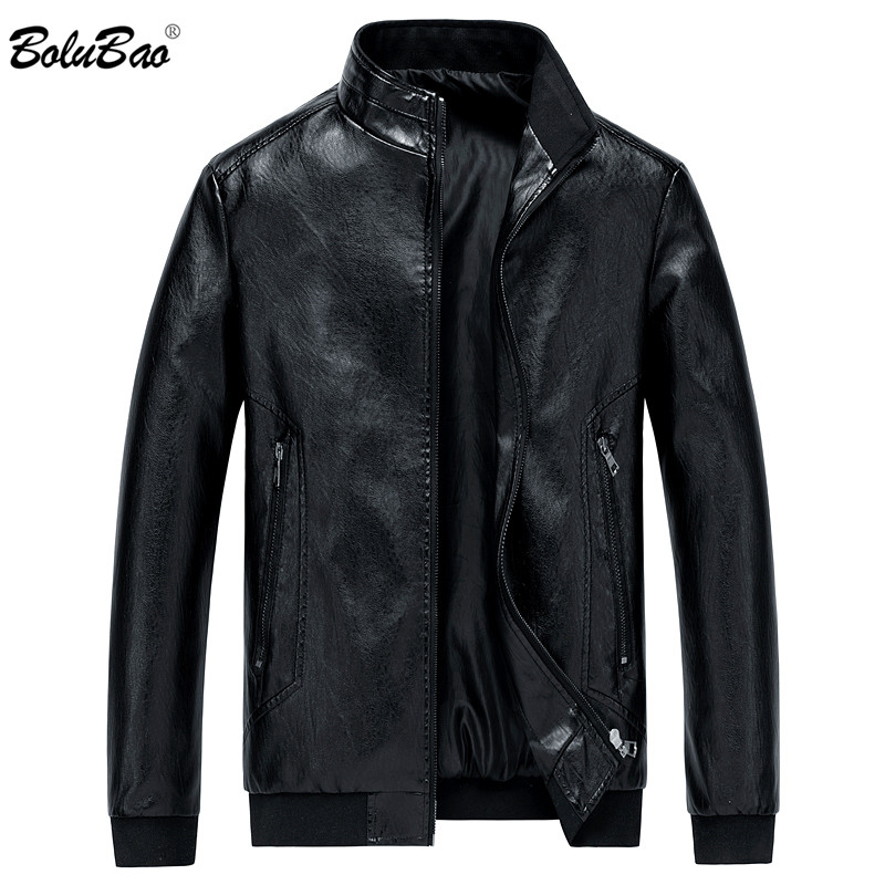 BOLUBAO Men's Winter Leather Jacket PU Solid Color Motorcycle Business Men Jackets Windproof Male Leather Jackets Coats