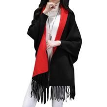 Yfashion Women Cashmere-Like Shawl with Tassels Warm Fashionable Dual-Use Cape Scarf