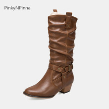 Cowboy boots for women sloppy mid calf long western horse riding classical wild vintage Bohemian style tan booties chunk heels