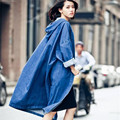 [XITAO] New autumn Korean wind casual style solid color long loose form hooded full sleeve denim female trench,CKB-010