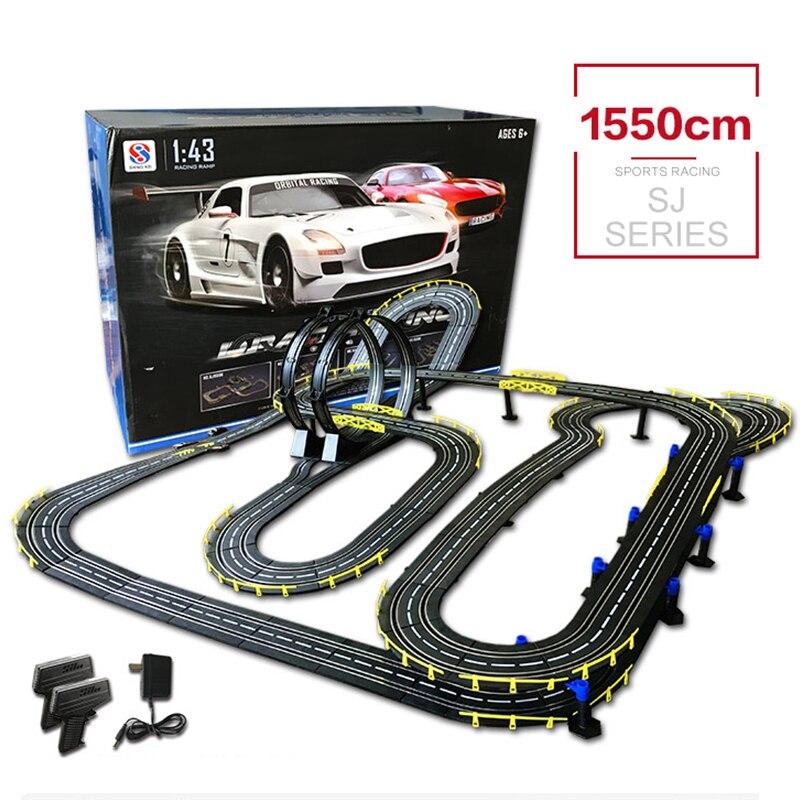 Bricolage bâtiment voiture piste haute vitesse électrique filaire à distance course jouets voiture Rc drôle interactif jouets avec 2 voitures pour cadeaux