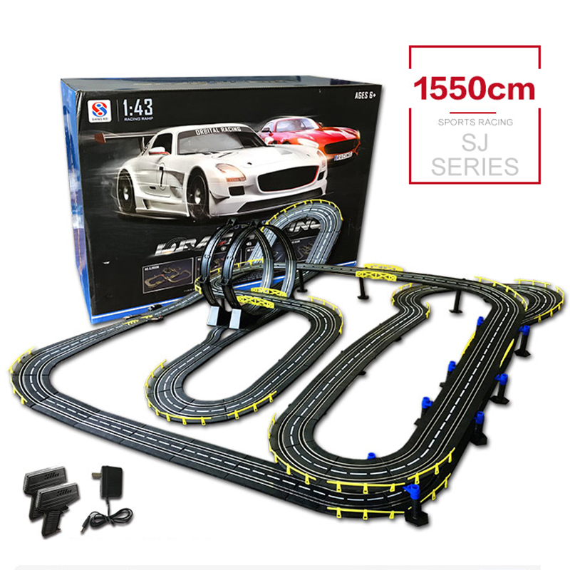 DIY Building Car Track High Speed Electric Wired Remote Racing Toys Rc Car Funny Interactive Toys With 2 Cars For Gifts