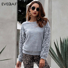 EVERAFTER Tassel patchwork knitted solid sweater women O-neck long sleeve Winter casual female pullover elegant lady new