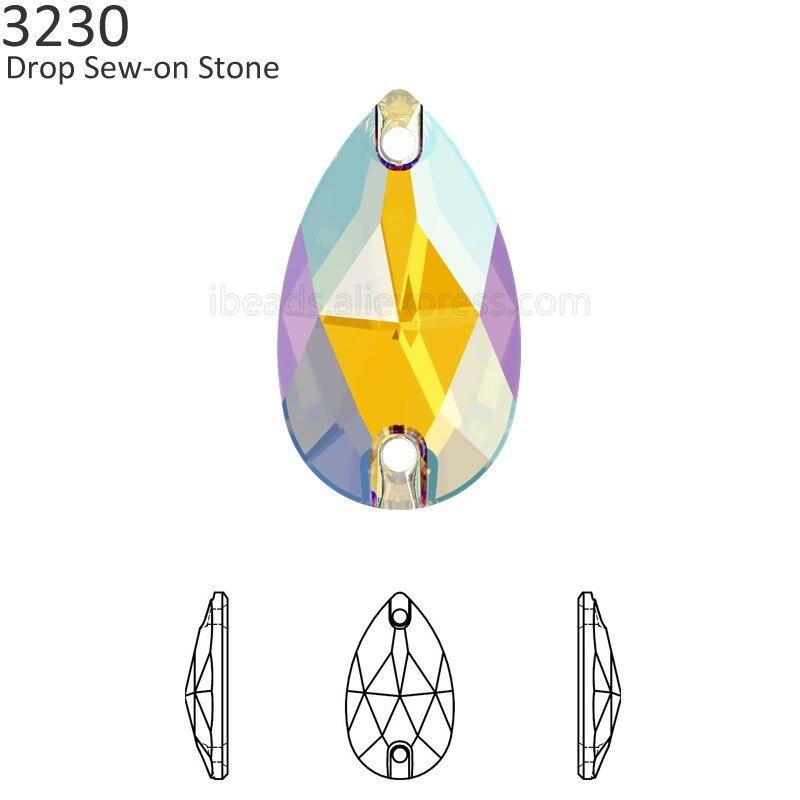(1 piece) 100% Original crystal from Swarovski 3230 drop sew-on stone pear  shape Austrian rhinestone DIY clothing decoration 424bc2c3b3e5