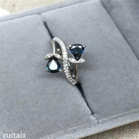 KJJEAXCMY fine jewelry S925 Pure silver inlay natural sapphire water drop micro inlay lady ring zznja