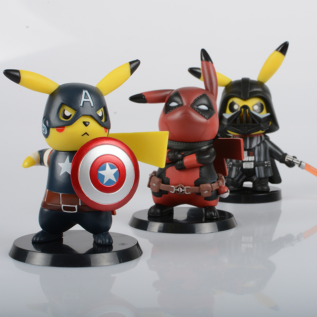 Deadpool Captain America Darth Vader Pikachu Cosplay PVC Figure Collectible Model Toy Small Size 8.5-11cm 3 Styles 3