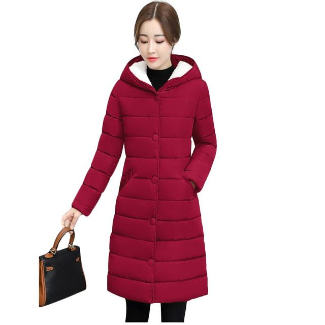 7e8735328 US $29.95 |2018 New Wine Red Long Parkas Female Women Winter Coat  Thickening Cotton Winter Jacket Womens Outwear Parkas for Women Winter -in  Parkas ...