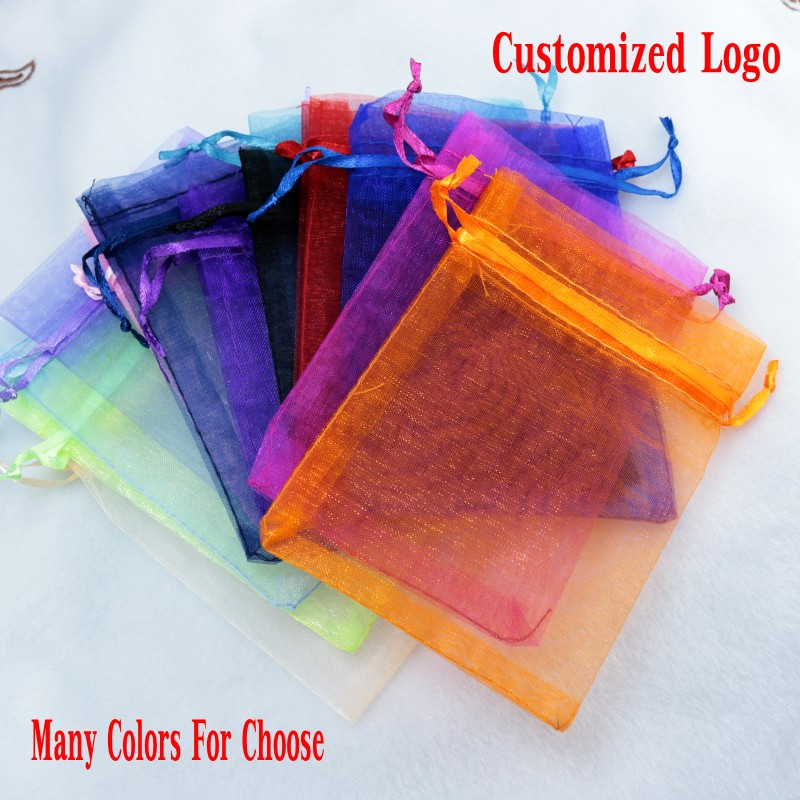 Free Shipping 100pcs/lot 7x9cm MultiColor Small Organza Bag Cute Charm Jewelry Packaging Bags Christmas Wedding Organza Pouches
