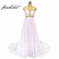 Free Shipping Chiffon Beach Wedding Dresses 2017 Affordable Cheap Ivory White Bridal Gowns Robe De Marriage