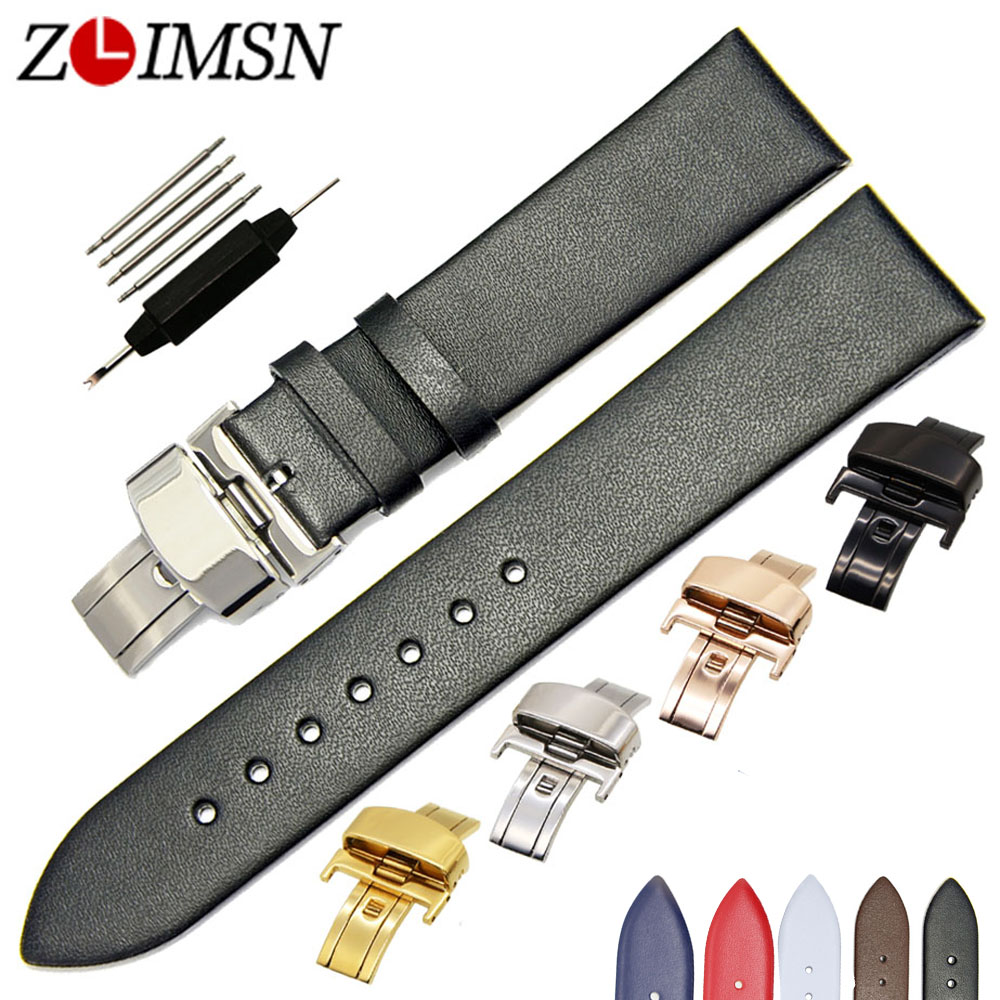 ZLIMSN Smooth Soft Genuine Leather Watch Strap Black Brown 18 20 22mm Watchband 316L Stainless Steel Butterfly Deployment Buckle все цены