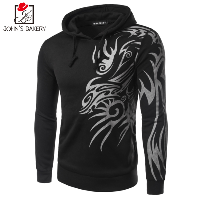 2017 Hoodies Men Sudaderas Hombre Hip Hop Mens Brand Dragon Prints Hooded Zipper Hoodie Sweatshirt Slim