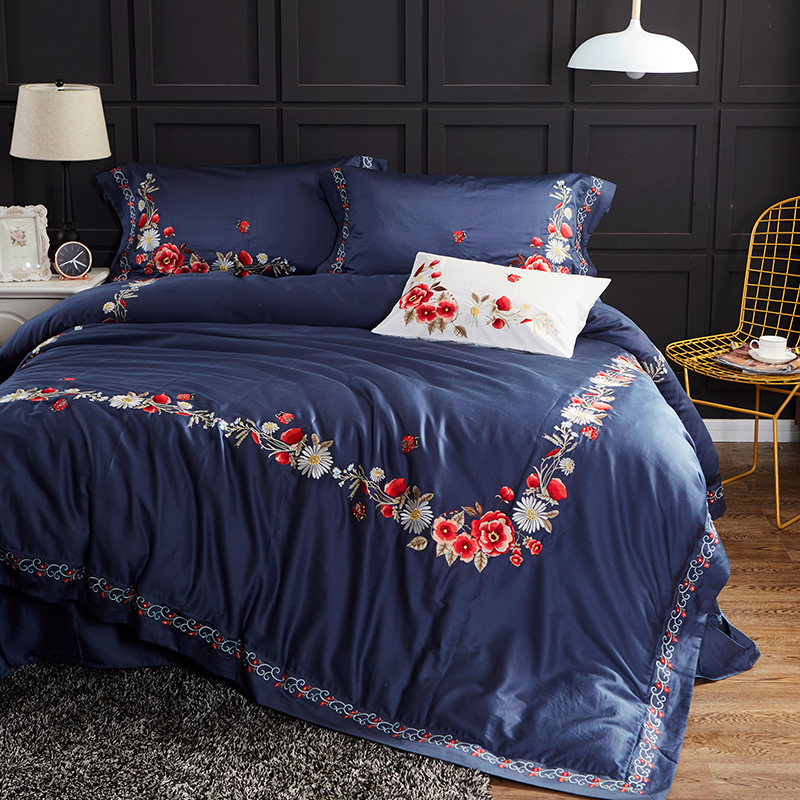 60S Egyptian Cotton blue luxury Flowers Embroidery Bedding Set Queen King Size Duvet Cover Bed Linen Bed sheet Pillowcases 4pcs