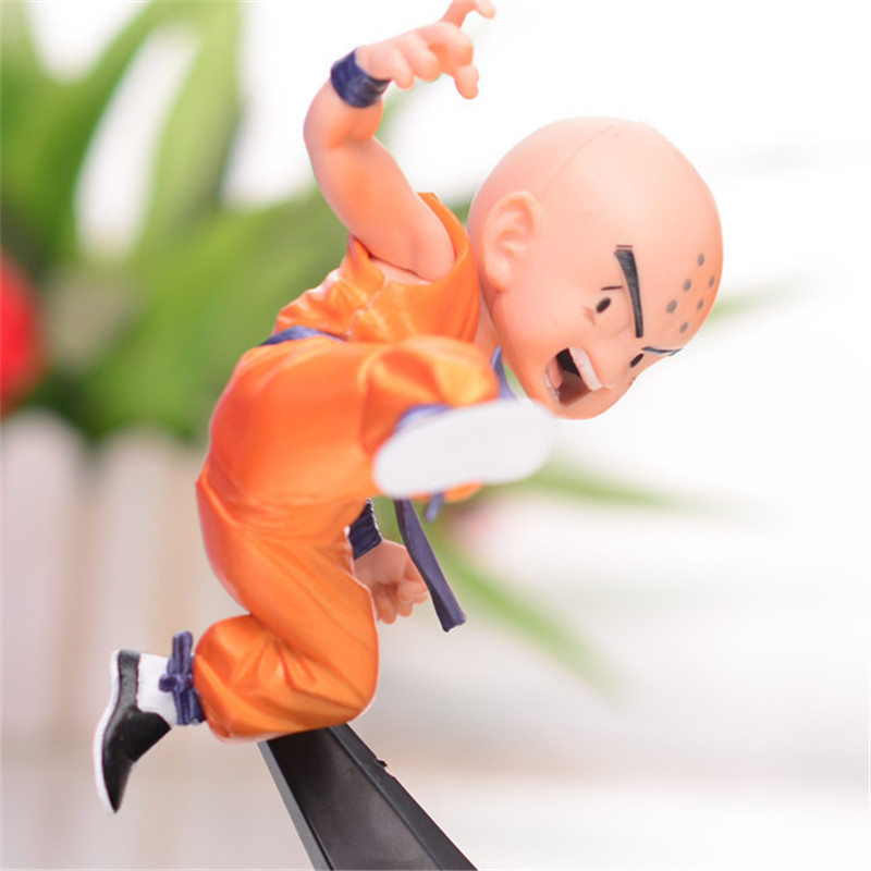 1pc/lot Kawaii Cute Dragon Ball Krillin Action Figures Collection Model Toys Dragonball Z Figuras DBZ With Base Jump 13cm